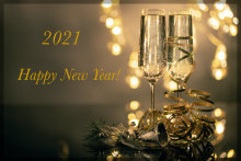 Happy New Year 2021 - festive Glasses and lights