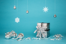 Silver wrapped gifts
